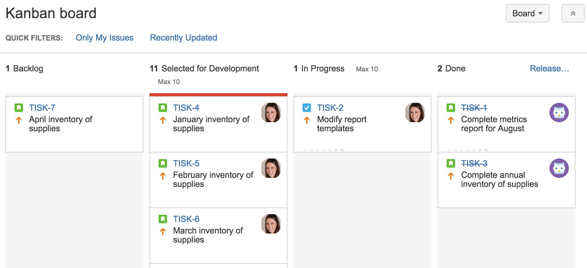 Kanban com restrições de coluna | Coach Agile Atlassian