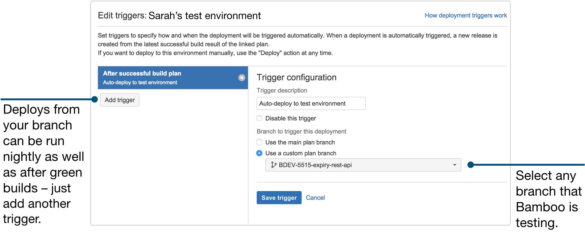 Capture d'écran d'un environnement de test
