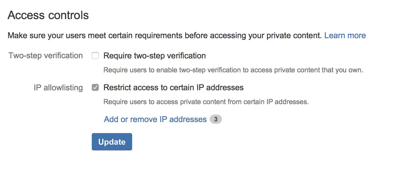 Captura de tela de controles de acesso