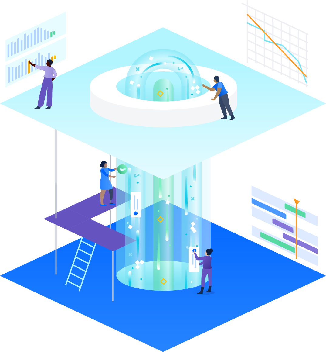 Tower with different levels of work