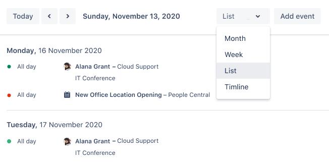 Visualizações personalizadas e calendários integrados
