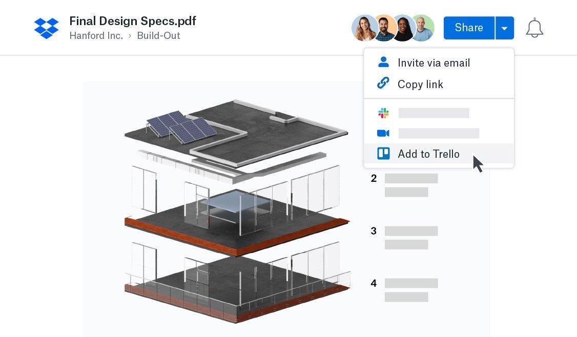 Visualização do Dropbox no Trello