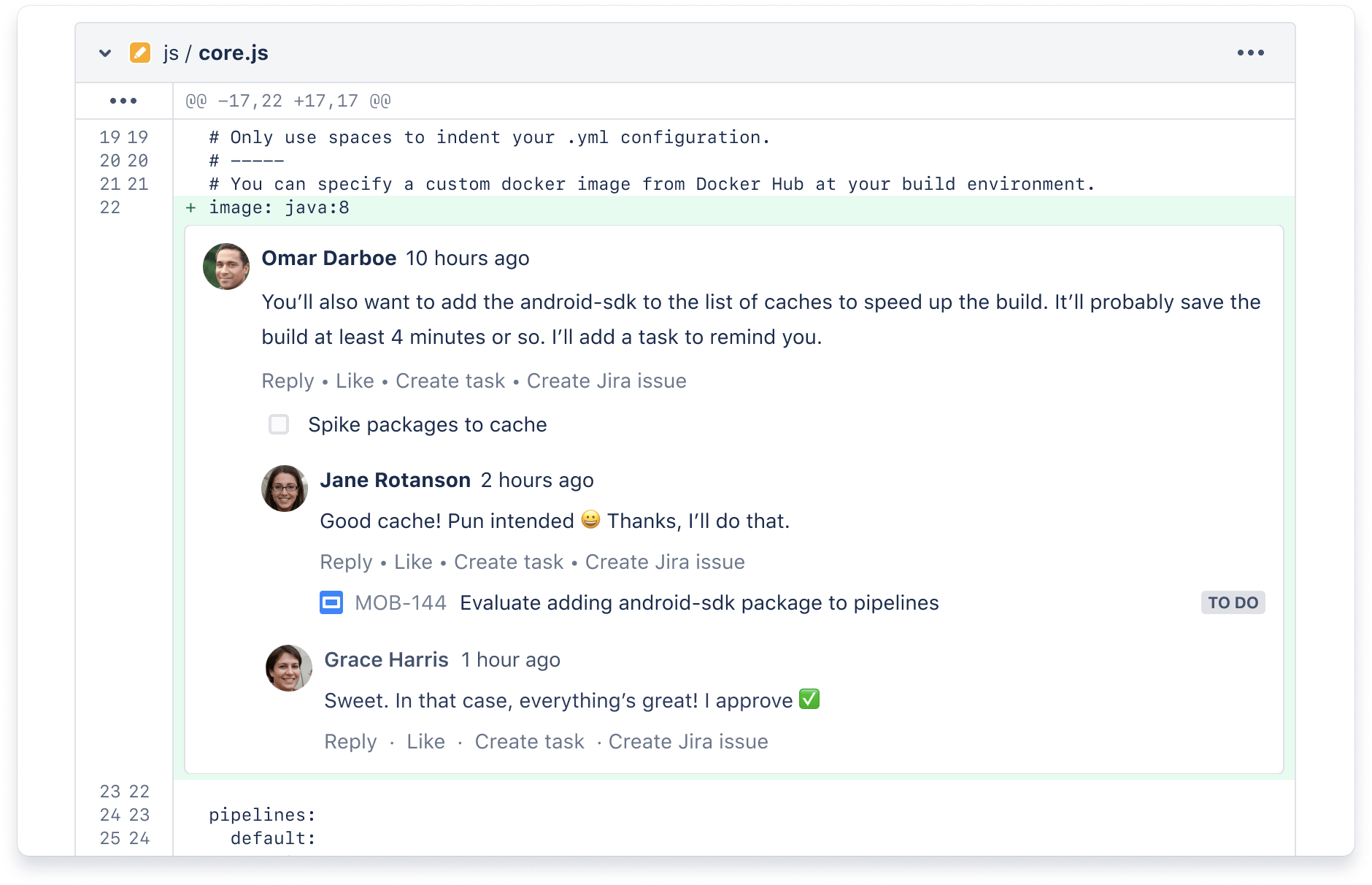 Bitbucket のプルリクエストのコメント
