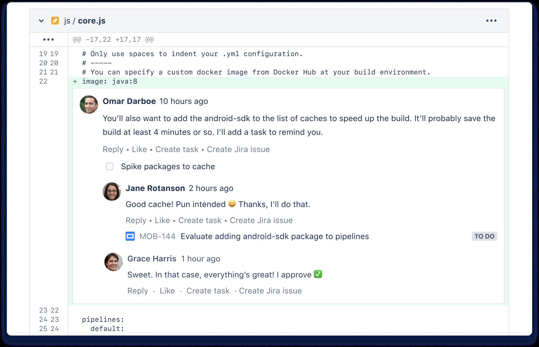 Comentario de solicitud de incorporación de cambios de Bitbucket