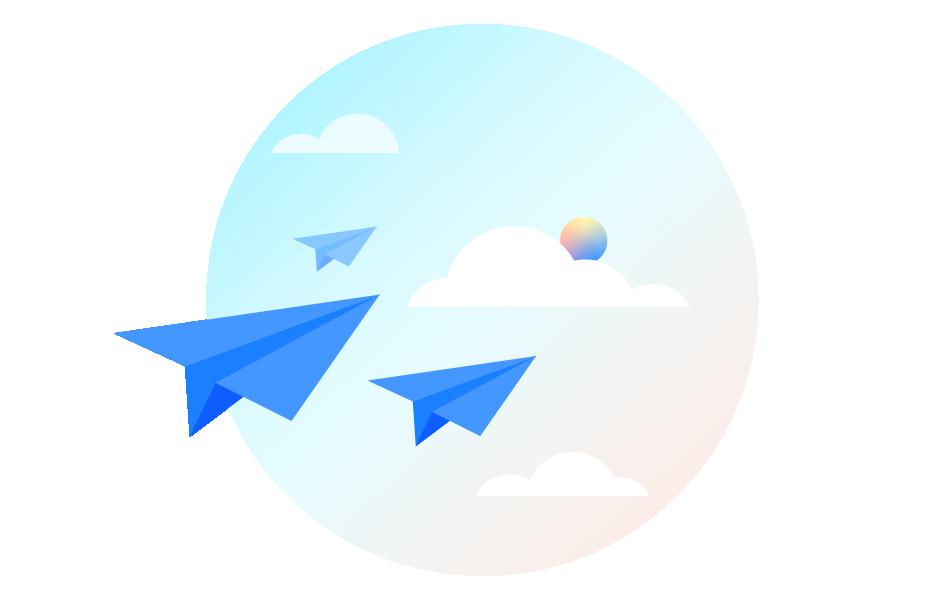 飞入云端的纸飞机