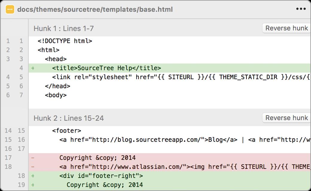 Visualização de uma comparação de código no aplicativo Sourcetree