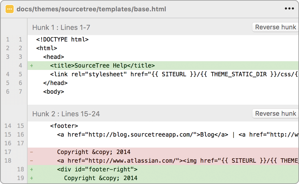 Viewing a code diff in the SourceTree app