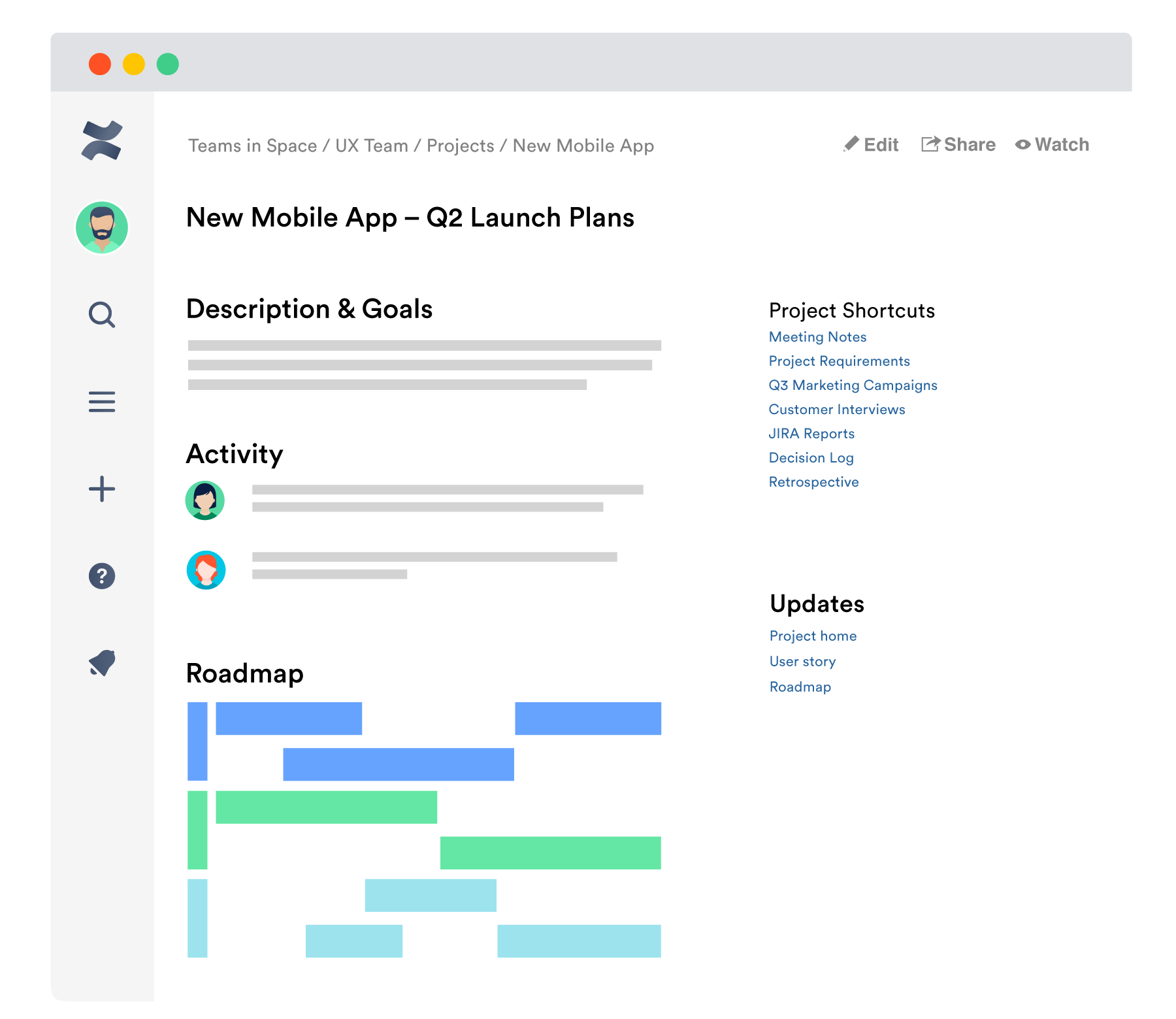 Confluence page with notes on projects being worked on in Jira