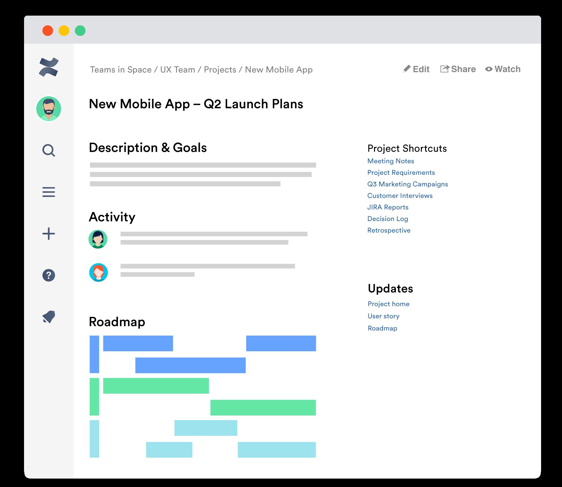 Software de colaboração de projeto Confluence