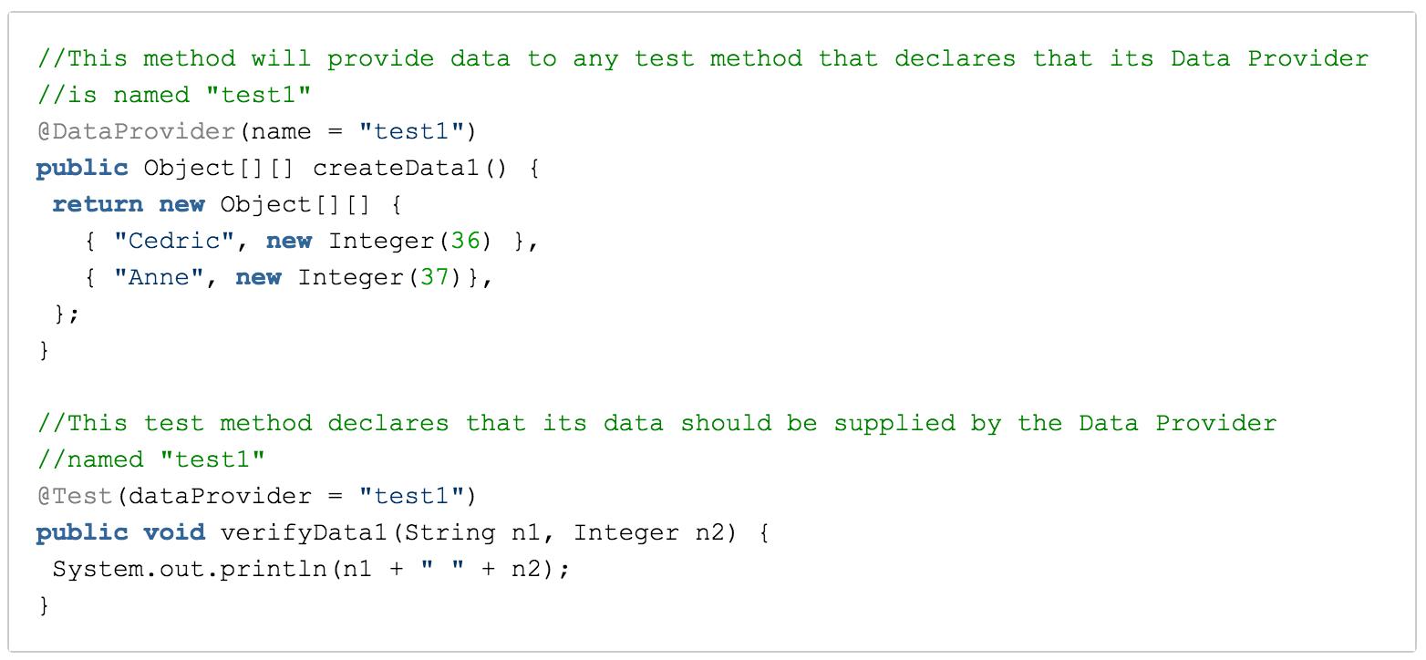 Parallel tests data provider screenshot