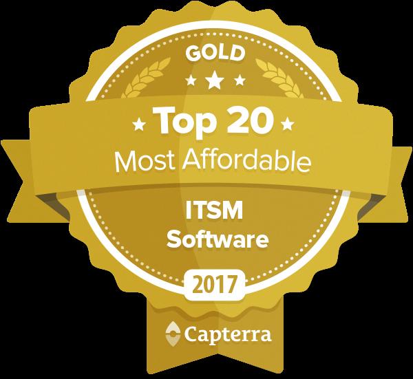 Odznaka firmy Capterra dla oprogramowania ITSM oferowanego w najbardziej przystępnej cenie