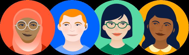 Meeple avatars of diverse team