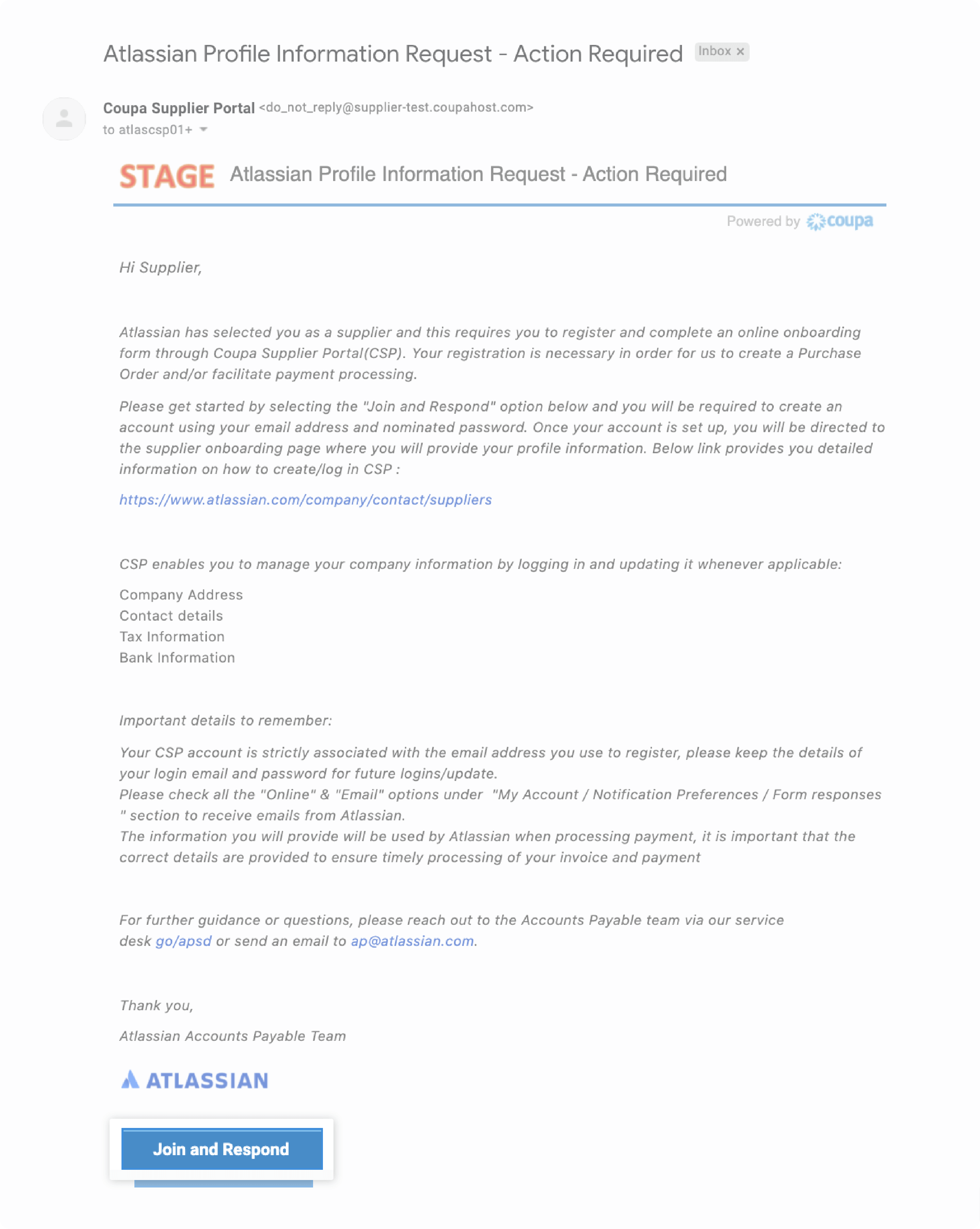 Atlassian Profile Information Request - Action Required email from Atlassian