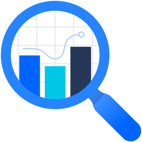 Magnifying glass with chart