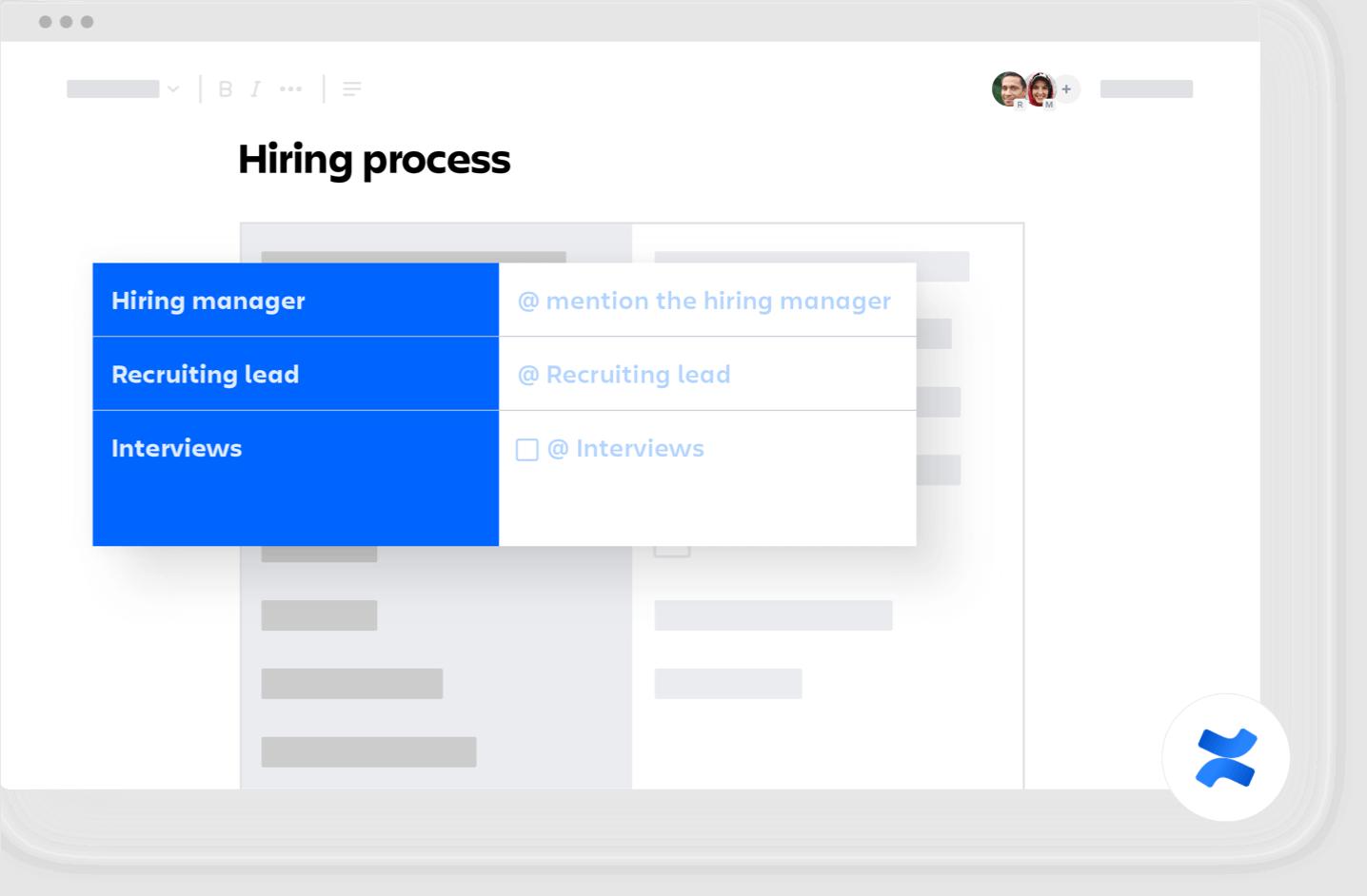 Hiring process confluence template