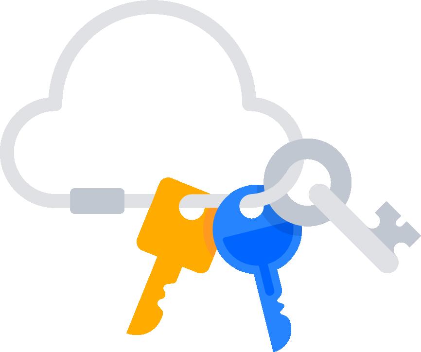 Figuren, die einen Schlüssel in ein Schloss stecken
