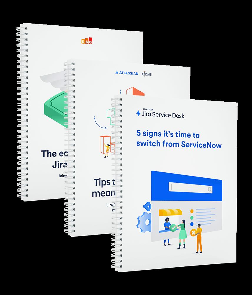Três folhetos da comparação entre o Jira Service Desk e o Servicenow