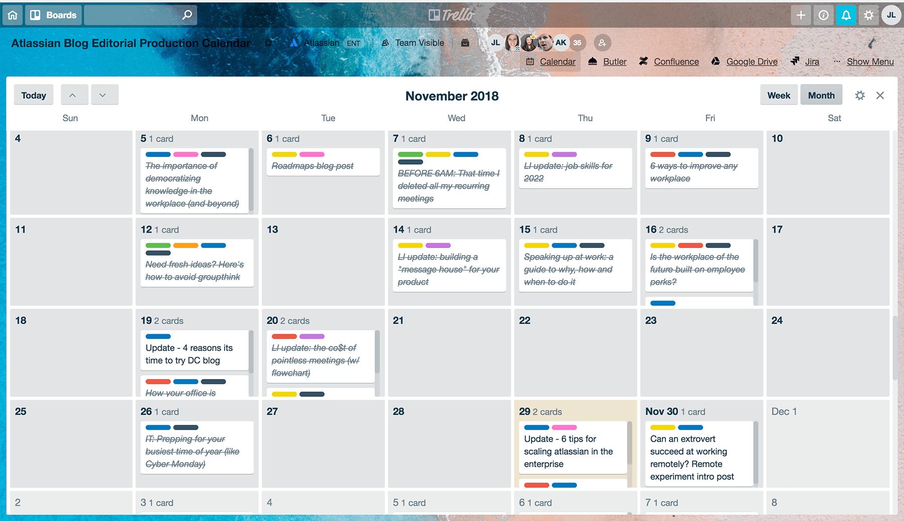 Example editorial calendar in Trello