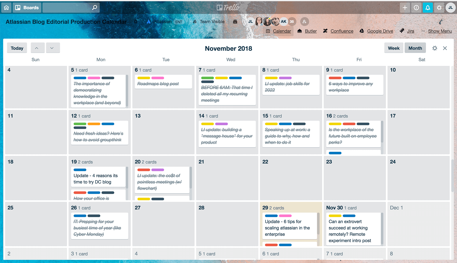Example editorial calendar in Trello