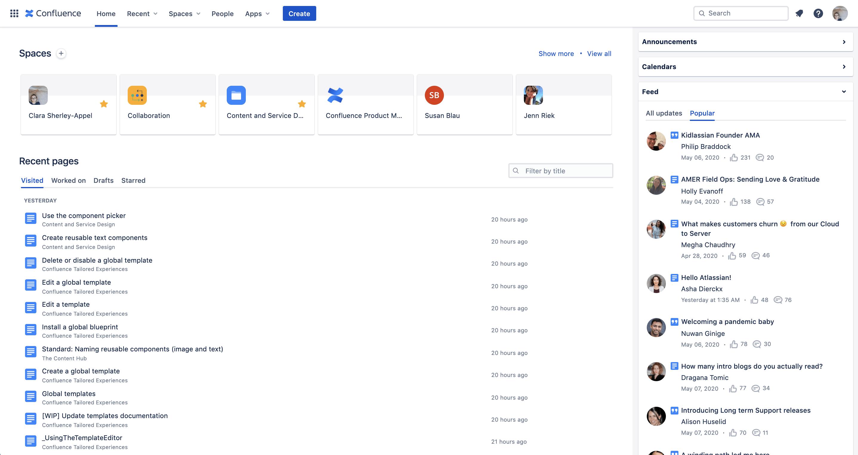 Screenshot of Home dashboard