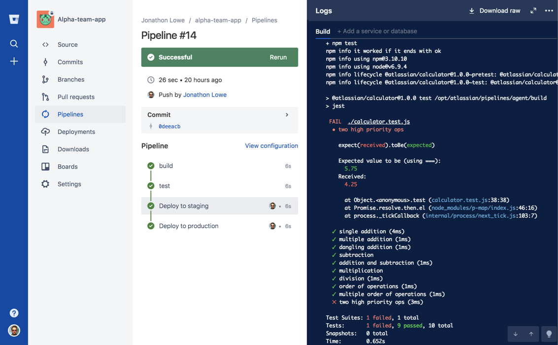 Captura de tela do Bitbucket Pipelines