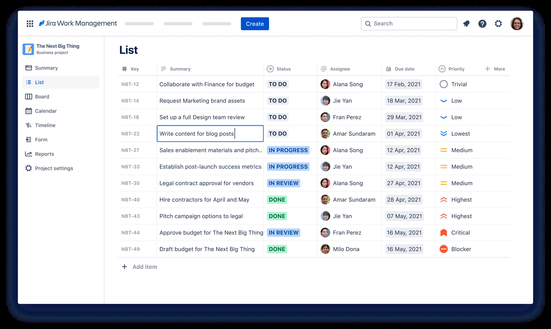 A Jira Work Management képernyőképe