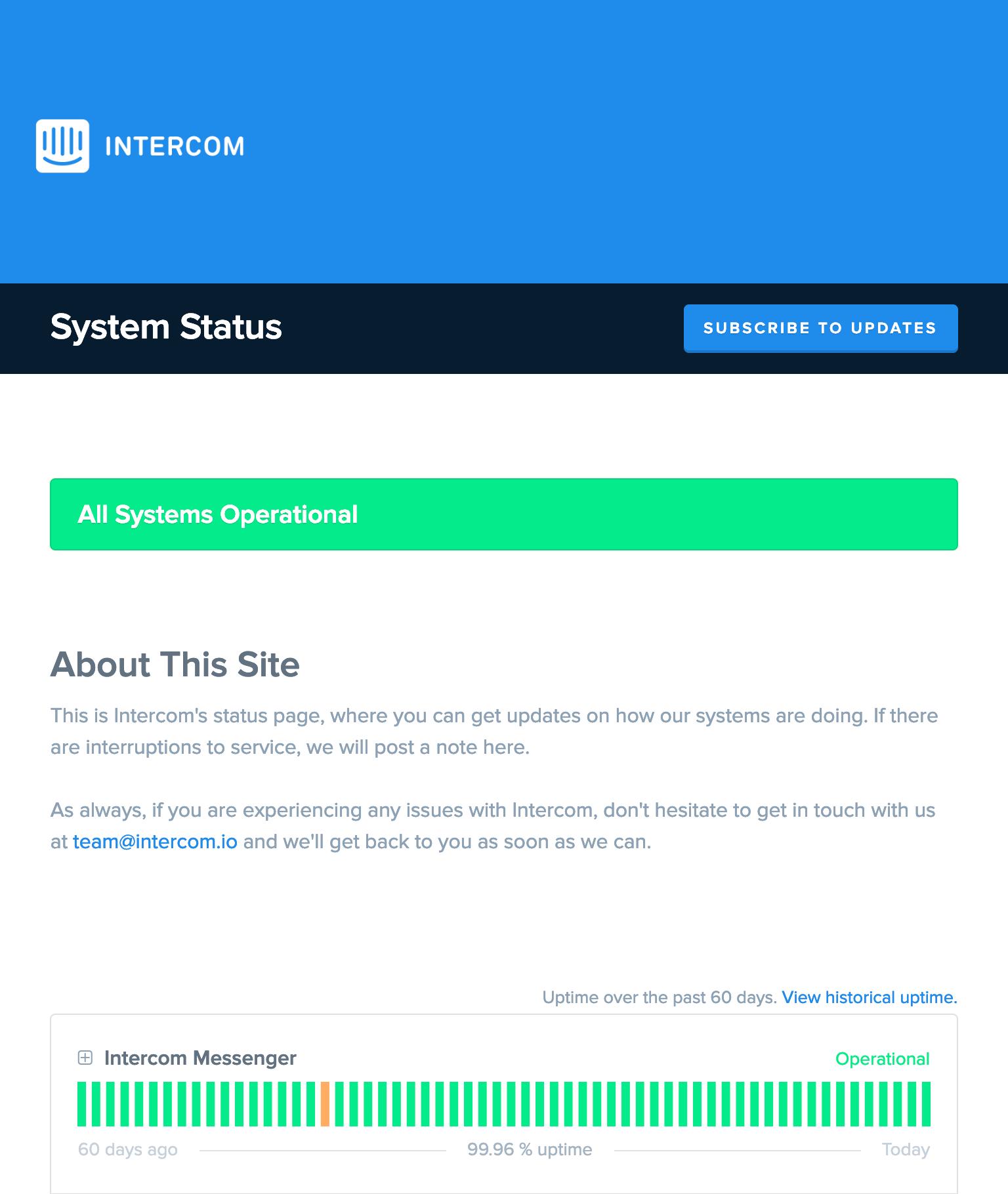 Lista de verificação de status da Intercom