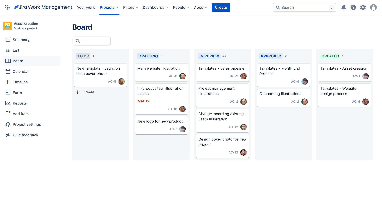 Jira templates screenshot