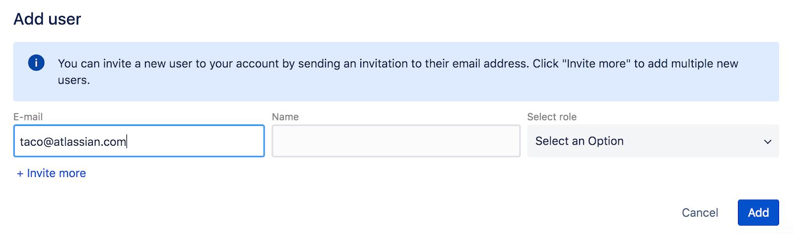 Capture d'écran illustrant le champ Add User(Ajouter un utilisateur)
