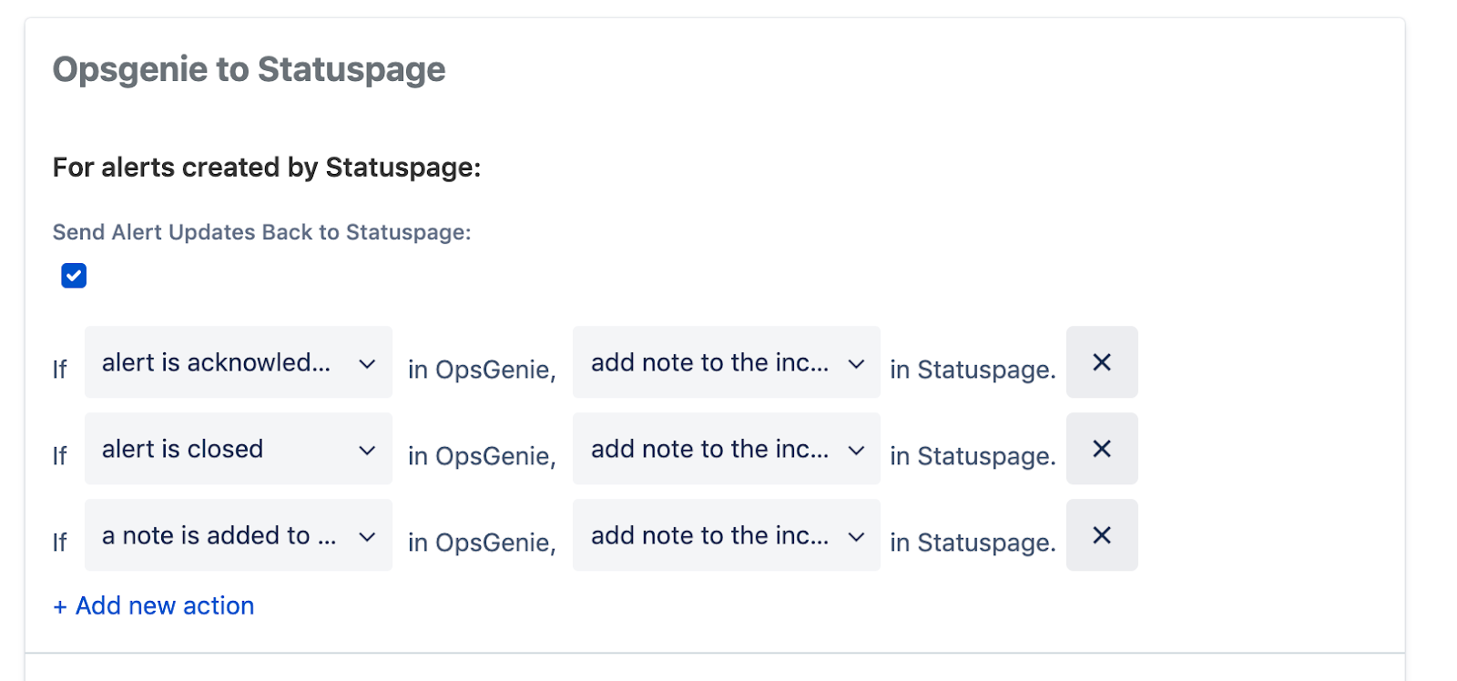 Alerts from opsgenie to statuspage