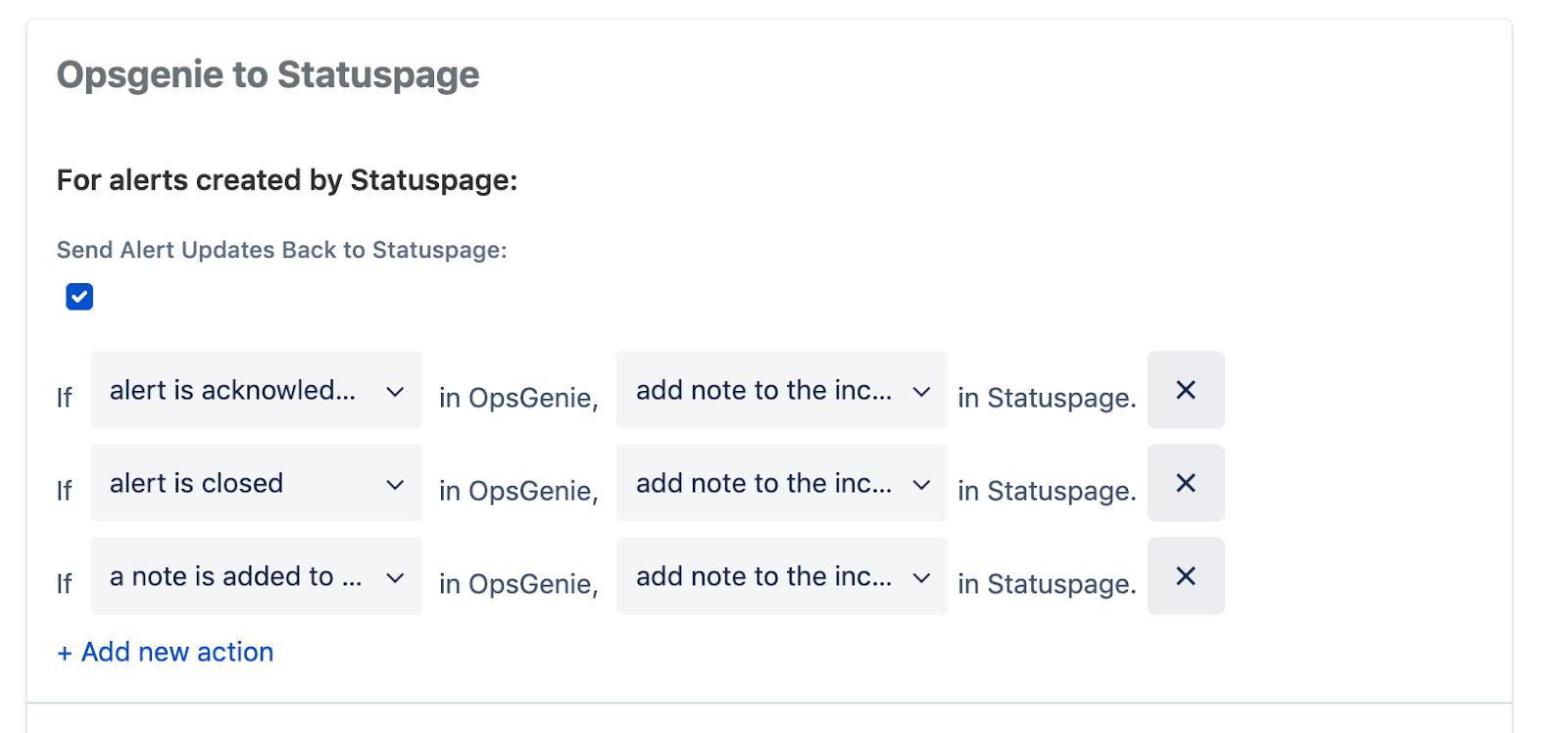 Opsgenie から statuspage へのアラート