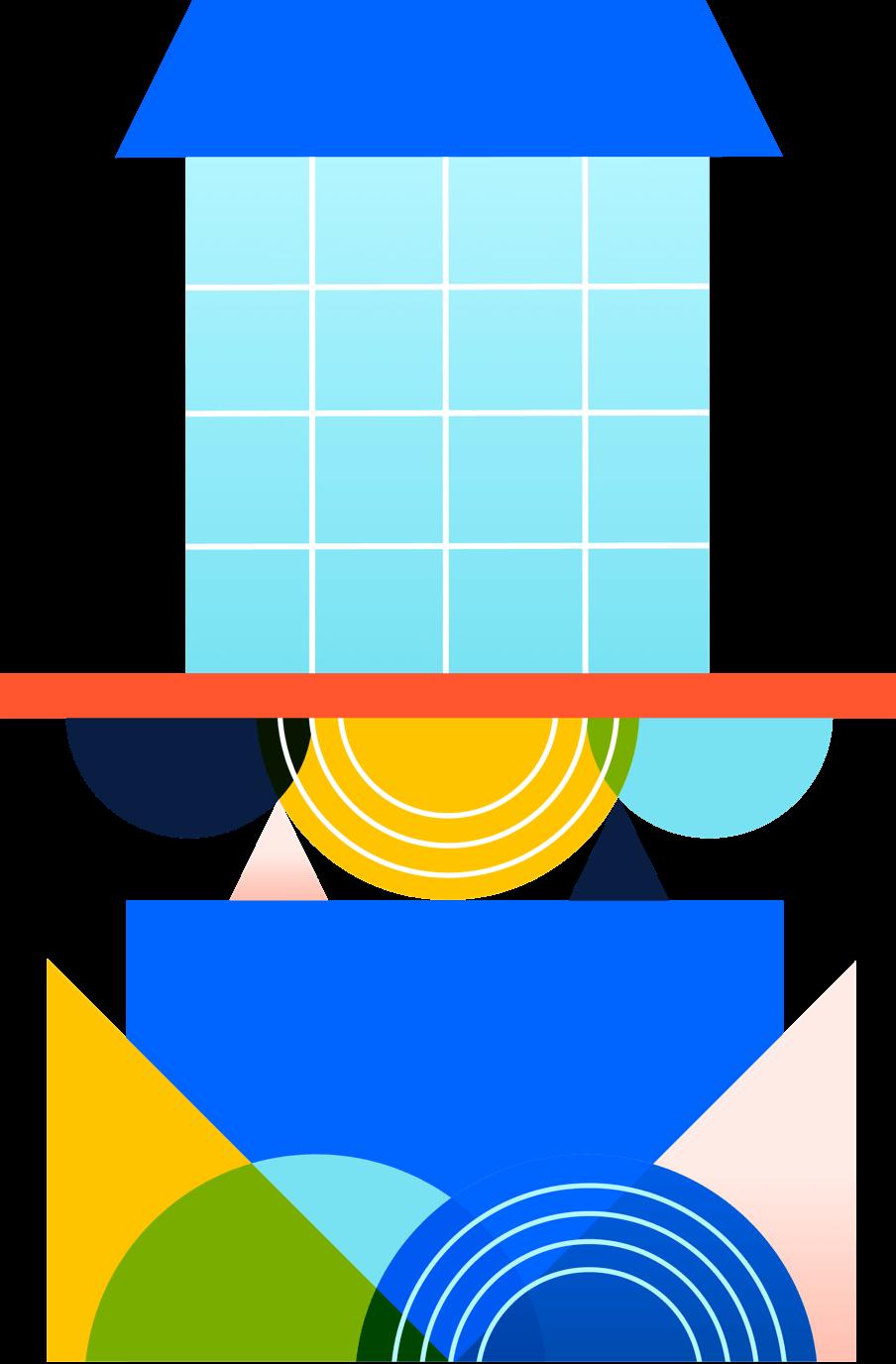 Illustration of shapes stacking