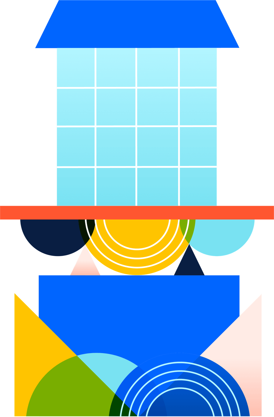 Illustration of shapes stacking