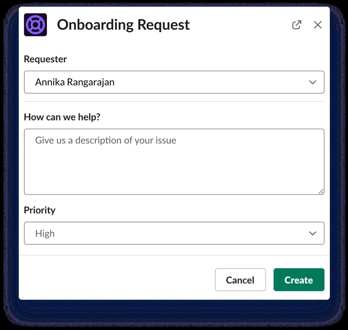 Onboarding request screenshot