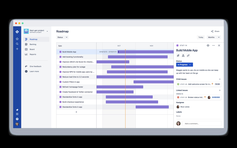 Produkt-Roadmap mit detaillierten Entwicklungs-Tasks