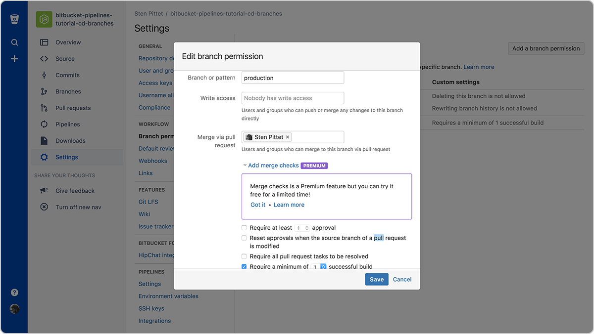 Configuring the permissions of the production branch | Atlassian CI/CD