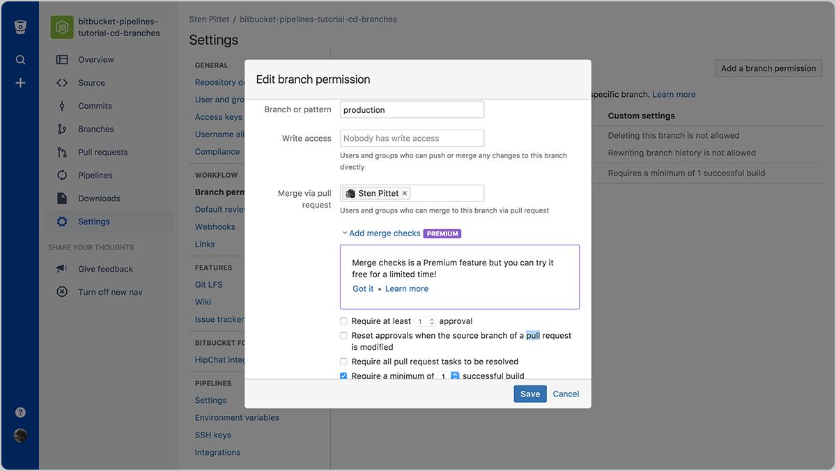Configuración de los permisos de la rama de producción   CI y CD de Atlassian
