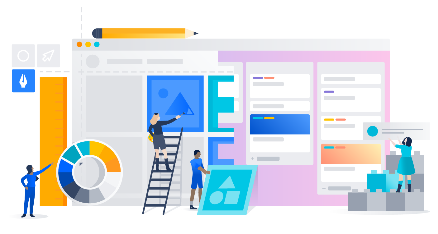Meeples collaborating with Confluence and Trello