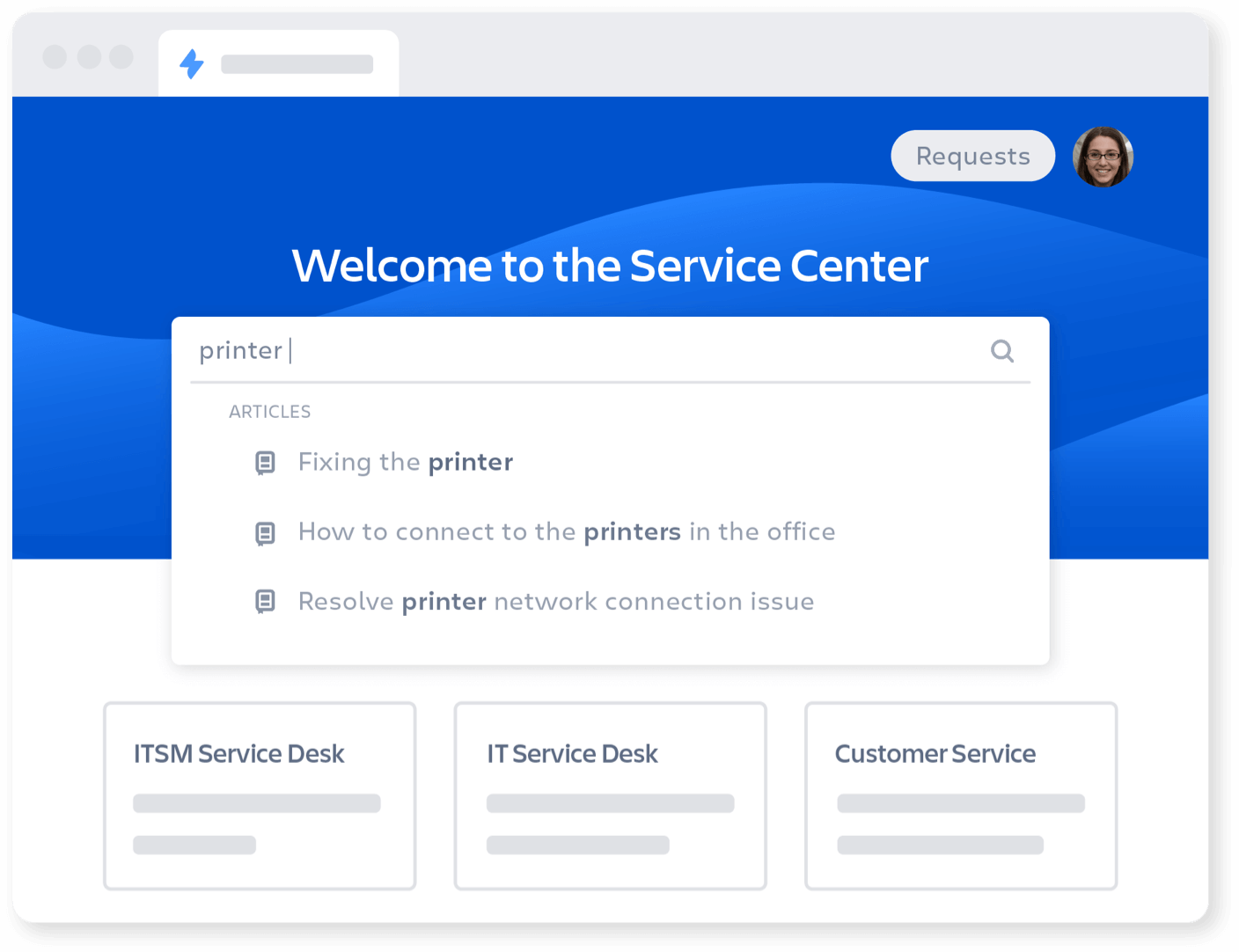 Service center homepage