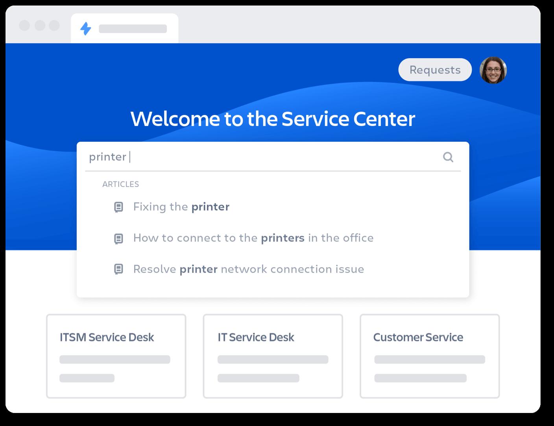 Service center homepage