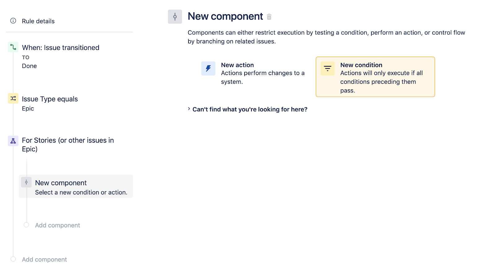 Selecting a new component in Jira Software