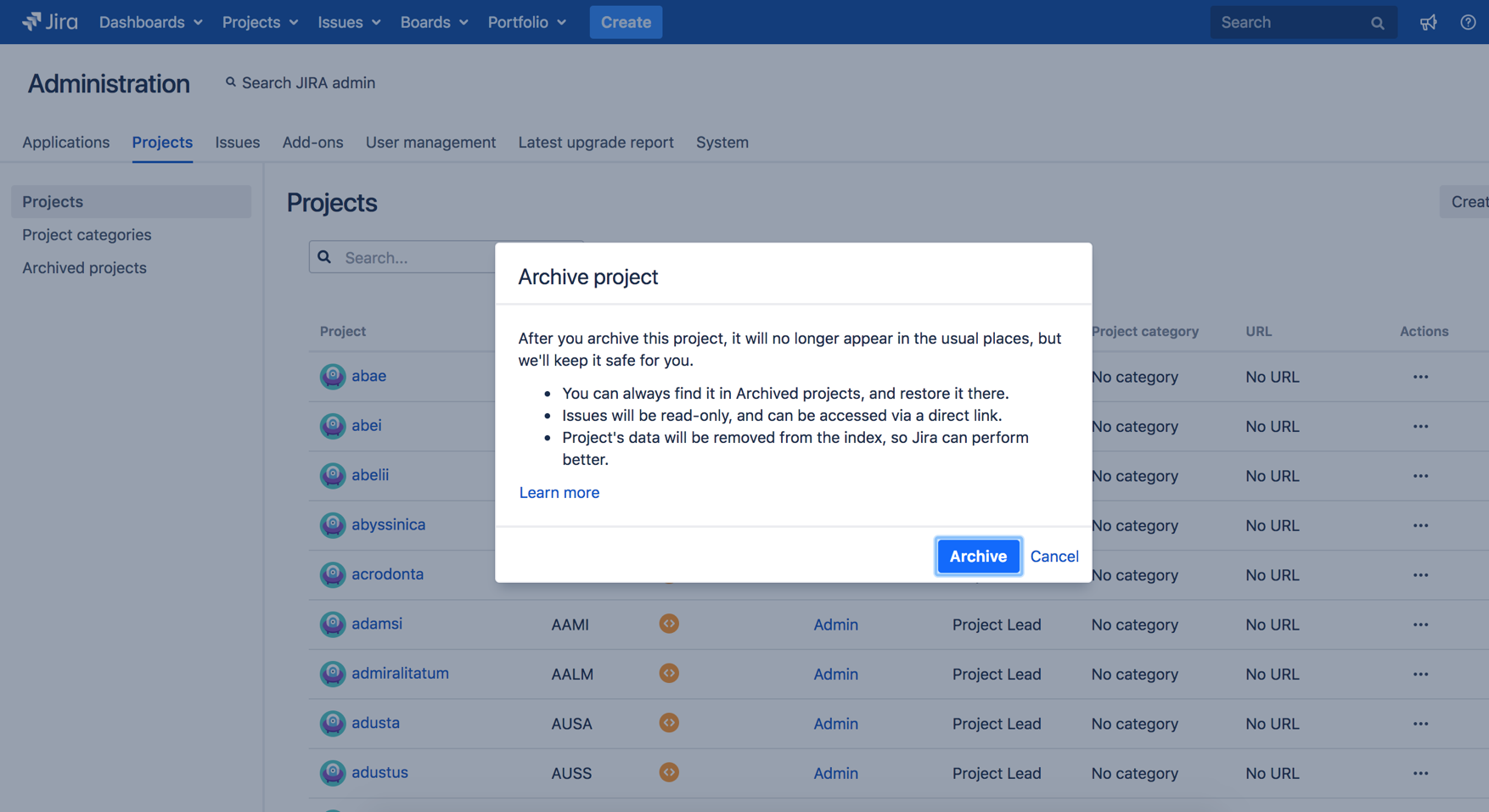 Jira Software Data Center project archiving