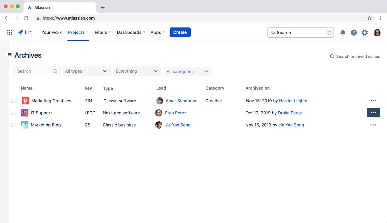 Capture d'écran de l'archivage de projets