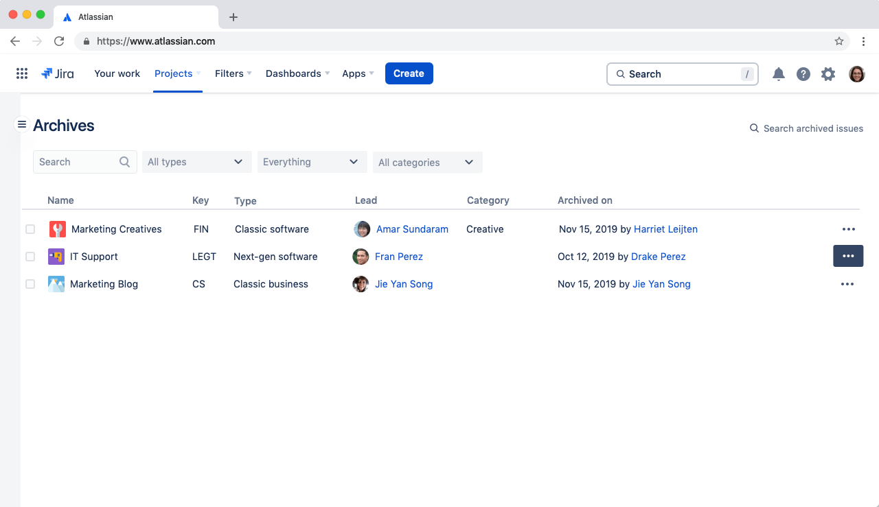 プロジェクトアーカイブのスクリーンショット