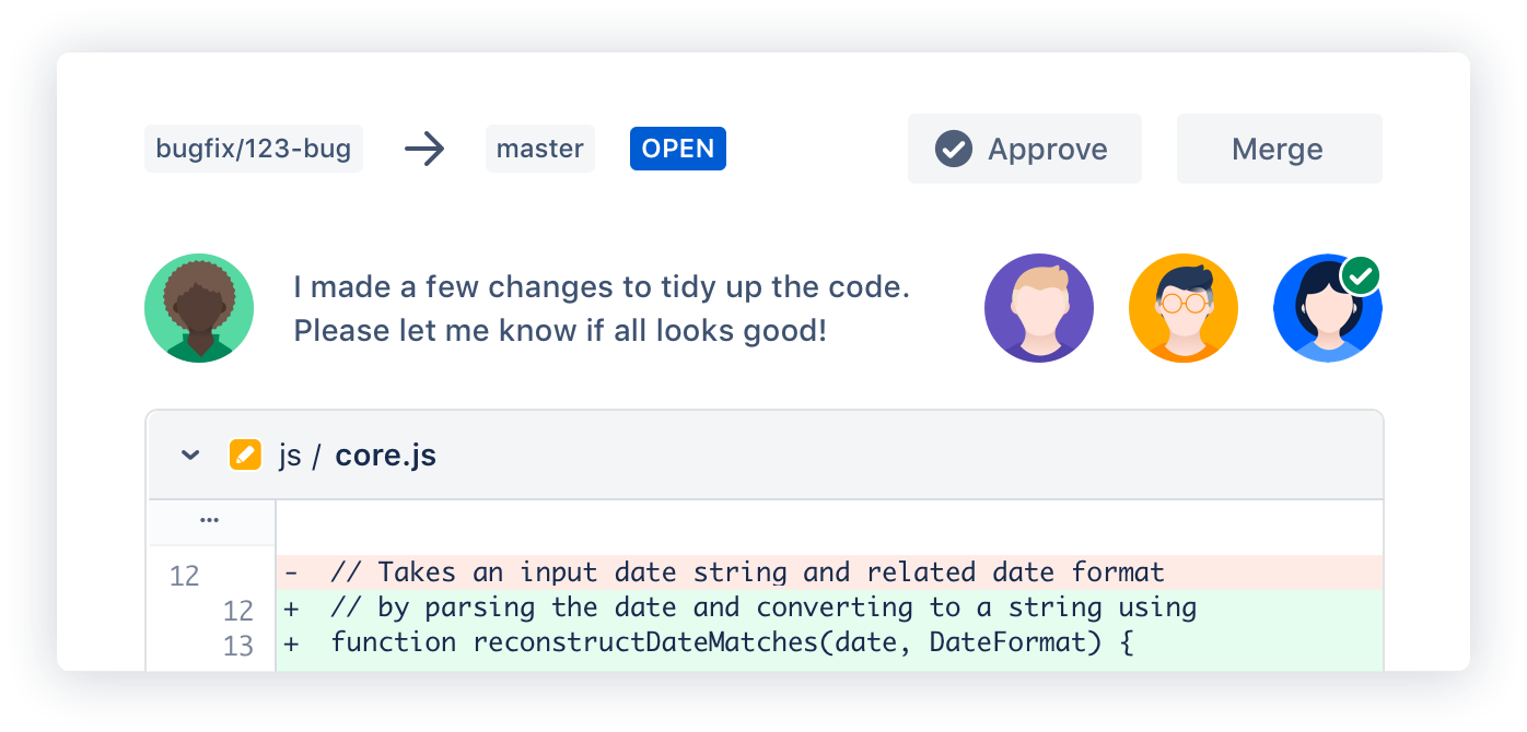 Esempio di pull request di Bitbucket