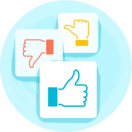 Thumbs up, thumbs down, and neutral thumb illustration