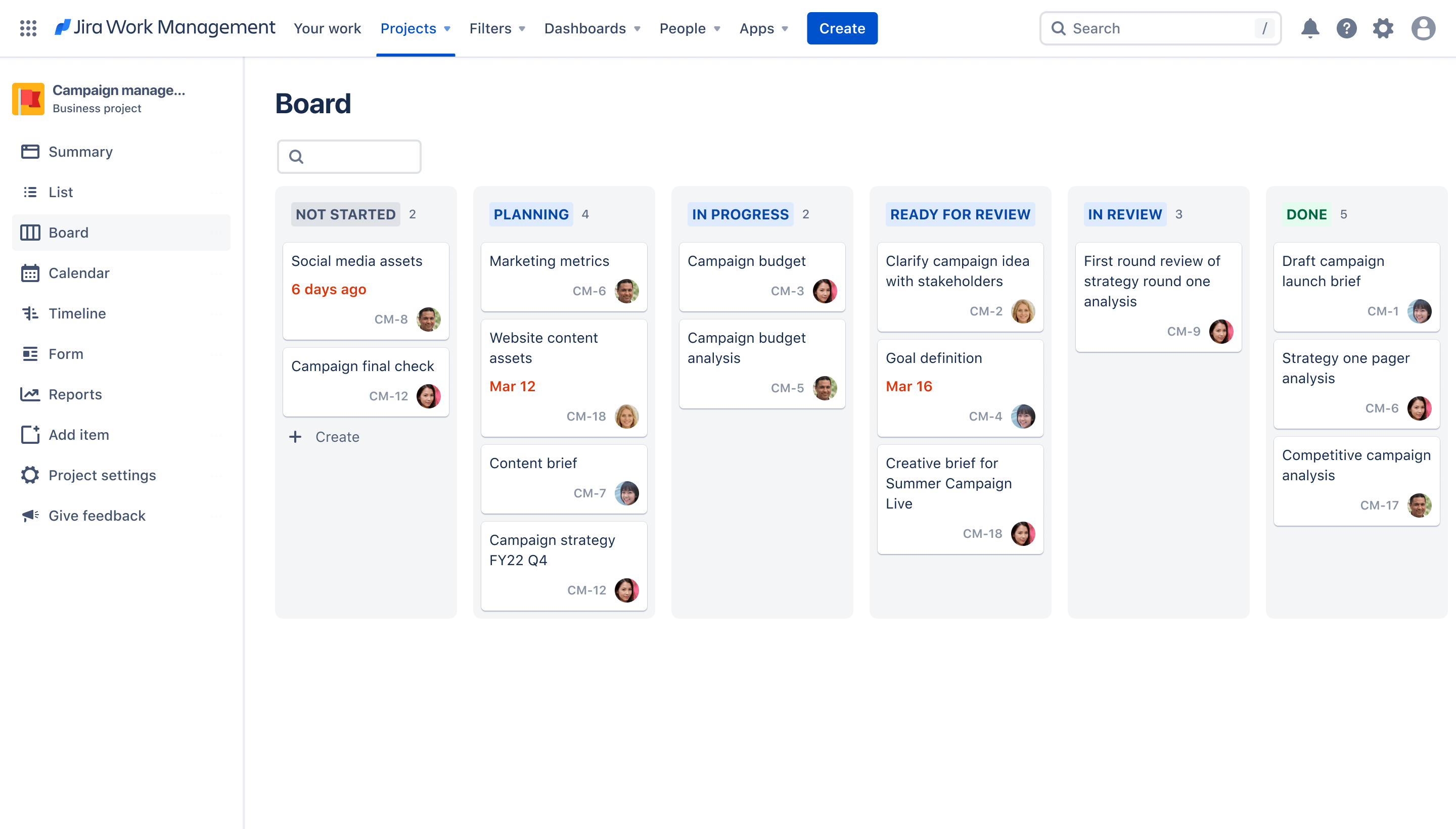Campaign management board view Jira Work Management