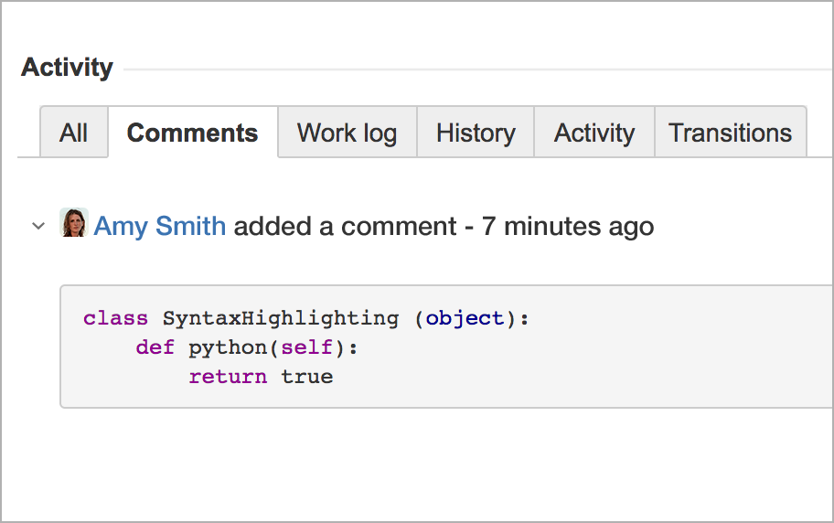 Code text with syntax highlighting