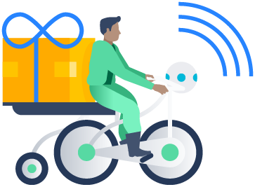 Illustration of person on a bike with a package