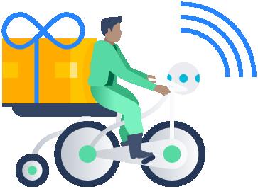 Illustrazione di una persona su una bicicletta con un pacchetto